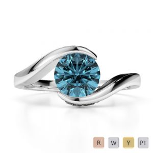 Gold / Platinum Round Cut Aquamarine and Diamond Engagement Ring AGDR-1209