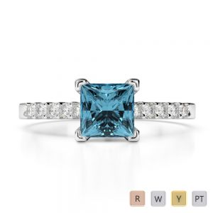 Gold / Platinum Round and Princess Cut Aquamarine and Diamond Engagement Ring AGDR-1210