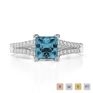 Gold / Platinum Round and Princess Cut Aquamarine and Diamond Engagement Ring AGDR-1211