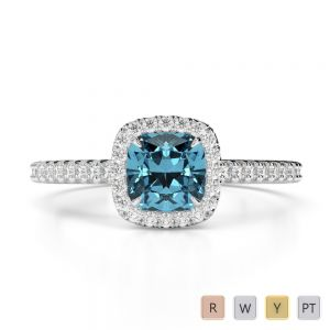 Gold / Platinum Round and Cushion Cut Aquamarine and Diamond Engagement Ring AGDR-1212