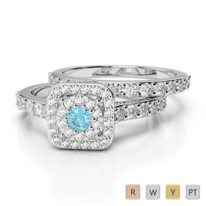Gold / Platinum Round cut Aquamarine and Diamond Bridal Set Ring AGDR-1246