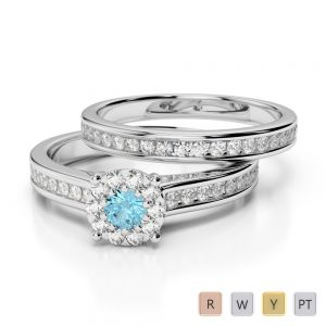 Gold / Platinum Round cut Aquamarine and Diamond Bridal Set Ring AGDR-1339