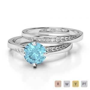 Gold / Platinum Round cut Aquamarine and Diamond Bridal Set Ring AGDR-2001