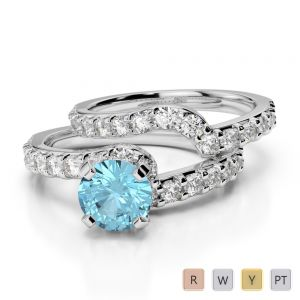 Gold / Platinum Round cut Aquamarine and Diamond Bridal Set Ring AGDR-2003