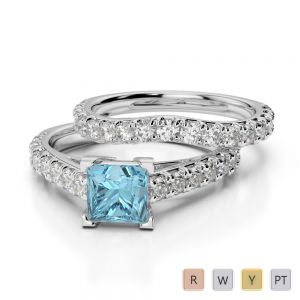 Gold / Platinum Round and Princess cut Aquamarine and Diamond Bridal Set Ring AGDR-2007