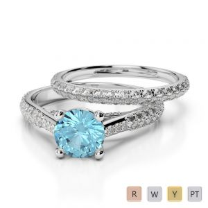Gold / Platinum Round cut Aquamarine and Diamond Bridal Set Ring AGDR-2013