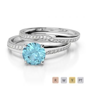Gold / Platinum Round cut Aquamarine and Diamond Bridal Set Ring AGDR-2015