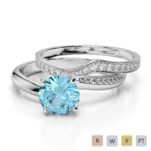 Gold / Platinum Round cut Aquamarine and Diamond Bridal Set Ring AGDR-2017
