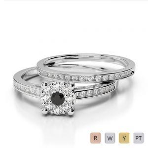 Gold / Platinum Round cut Black Diamond with Diamond Bridal Set Ring AGDR-1052