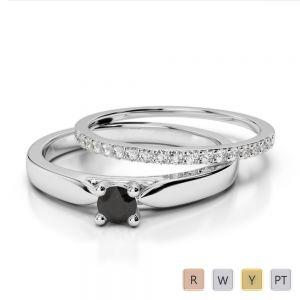Gold / Platinum Round cut Black Diamond with Diamond Bridal Set Ring AGDR-1055
