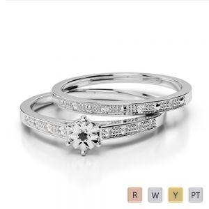Gold / Platinum Round cut Black Diamond with Diamond Bridal Set Ring AGDR-1056