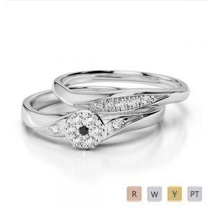 Gold / Platinum Round cut Black Diamond with Diamond Bridal Set Ring AGDR-1057