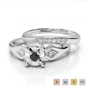 Gold / Platinum Round cut Black Diamond with Diamond Bridal Set Ring AGDR-1058
