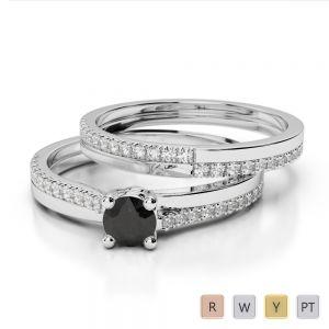 Gold / Platinum Round cut Black Diamond with Diamond Bridal Set Ring AGDR-1060