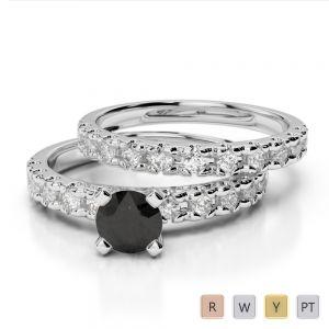 Gold / Platinum Round cut Black Diamond with Diamond Bridal Set Ring AGDR-1144
