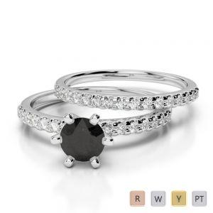 Gold / Platinum Round cut Black Diamond with Diamond Bridal Set Ring AGDR-1145