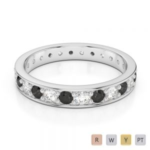 3 MM Gold / Platinum Round Cut Black Diamond with Diamond Full Eternity Ring AGDR-1080