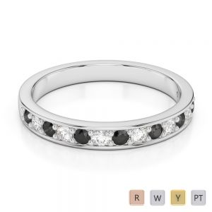 Gold / Platinum Round Cut Black Diamond with Diamond Half Eternity Ring AGDR-1083