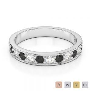 Gold / Platinum Round Cut Black Diamond with Diamond Half Eternity Ring AGDR-1084