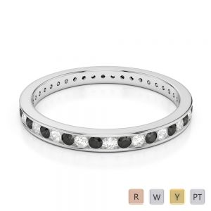 Gold / Platinum Round Cut Black Diamond with Diamond Full Eternity Ring AGDR-1086