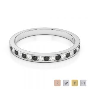 Gold / Platinum Round Cut Black Diamond with Diamond Half Eternity Ring AGDR-1089