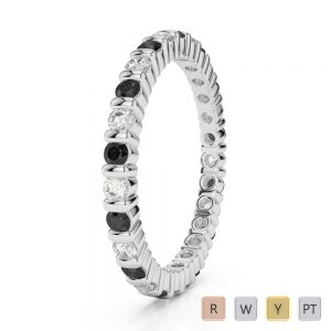 Gold / Platinum Round Cut Black Diamond with Diamond Full Eternity Ring AGDR-1092