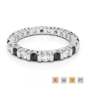 Gold / Platinum Round Cut Black Diamond with Diamond Full Eternity Ring AGDR-1093