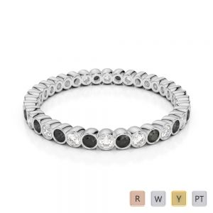 Gold / Platinum Round Cut Black Diamond with Diamond Full Eternity Ring AGDR-1098
