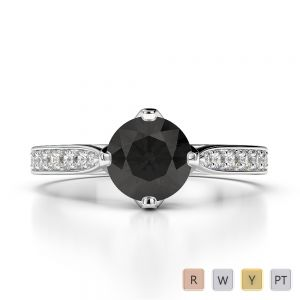 Gold / Platinum Round Cut Black Diamond with Diamond Engagement Ring AGDR-1204