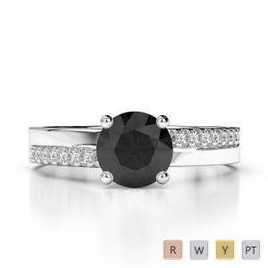 Gold / Platinum Round Cut Black Diamond with Diamond Engagement Ring AGDR-1206