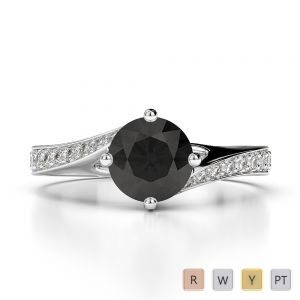Gold / Platinum Round Cut Black Diamond with Diamond Engagement Ring AGDR-1207