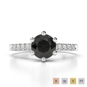 Gold / Platinum Round Cut Black Diamond with Diamond Engagement Ring AGDR-1208