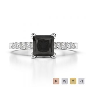 Gold / Platinum Round and Princess Cut Black Diamond with Diamond Engagement Ring AGDR-1210