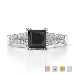 Gold / Platinum Round and Princess Cut Black Diamond with Diamond Engagement Ring AGDR-1211