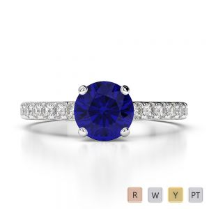 Gold / Platinum Round Cut Sapphire and Diamond Engagement Ring AGDR-1201