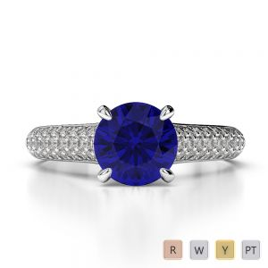 Gold / Platinum Round Cut Sapphire and Diamond Engagement Ring AGDR-1203