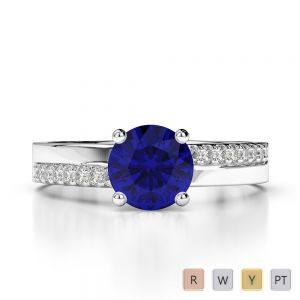 Gold / Platinum Round Cut Sapphire and Diamond Engagement Ring AGDR-1206