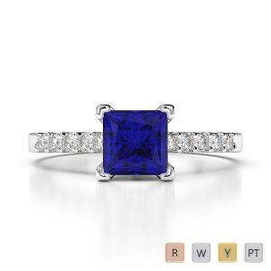 Gold / Platinum Princess and Round Cut Sapphire and Diamond Engagement Ring AGDR-1210