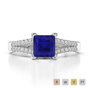 Gold / Platinum Princess and Round Cut Sapphire and Diamond Engagement Ring AGDR-1211