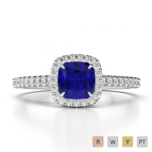 Gold / Platinum Cushion and Round Cut Sapphire and Diamond Engagement Ring AGDR-1212
