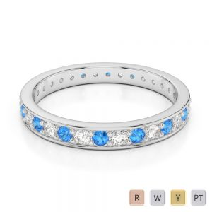 2.5 MM Gold / Platinum Round Cut Blue Topaz and Diamond Full Eternity Ring AGDR-1079