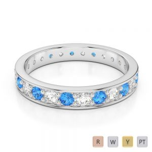 3 MM Gold / Platinum Round Cut Blue Topaz and Diamond Full Eternity Ring AGDR-1080