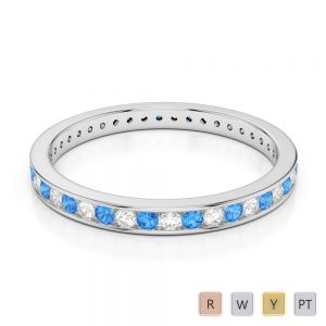 2.5 MM Gold / Platinum Round Cut Blue Topaz and Diamond Full Eternity Ring AGDR-1086