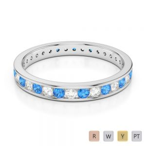 3 MM Gold / Platinum Round Cut Blue Topaz and Diamond Full Eternity Ring AGDR-1087