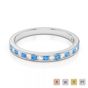 2.5 MM Gold / Platinum Round Cut Blue Topaz and Diamond Half Eternity Ring AGDR-1089