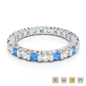 2.5 MM Gold / Platinum Round Cut Blue Topaz and Diamond Full Eternity Ring AGDR-1093