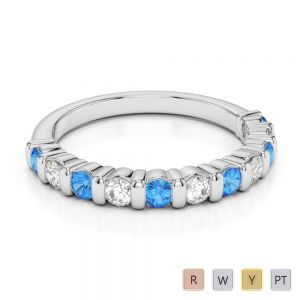 2.5 MM Gold / Platinum Round Cut Blue Topaz and Diamond Half Eternity Ring AGDR-1096