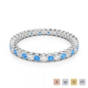 Gold / Platinum Round Cut Blue Topaz and Diamond Full Eternity Ring AGDR-1098