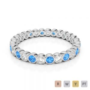 2.5 MM Gold / Platinum Round Cut Blue Topaz and Diamond Full Eternity Ring AGDR-1099