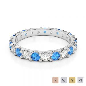 2.5 MM Gold / Platinum Round Cut Blue Topaz and Diamond Full Eternity Ring AGDR-1105